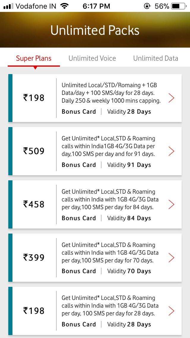 Unlimited Vodafone Prepaid Unlimited Plans List - Recharge