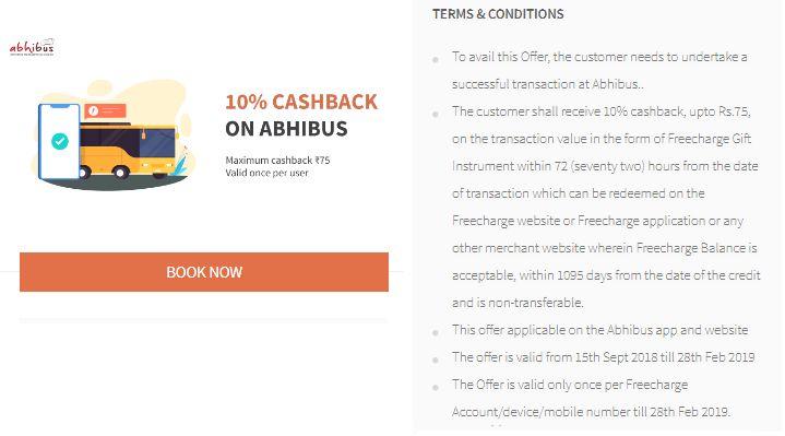 Freecharge Abhibus Offer