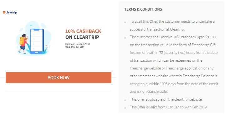 Freecharge Cleartrip Offer
