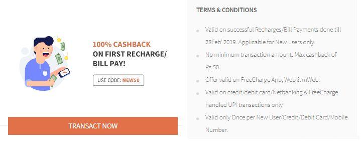 Freecharge New User Offer