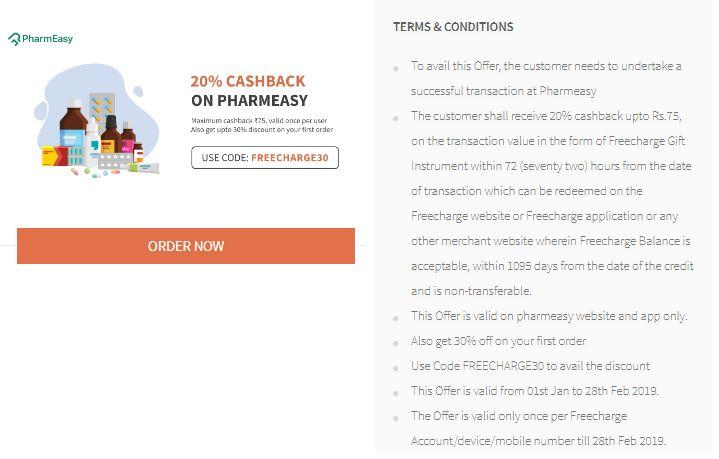 Freecharge Pharmeasy Offer