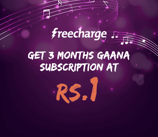 Freecharge Gaana 3 Months Subscription Offer
