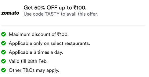 Zomato Tasty Code - Terms and Conditions