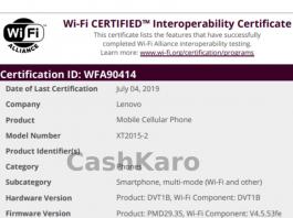 Lenovo's New Smartphone XT2015-2 Wi-Fi Certification Leaked