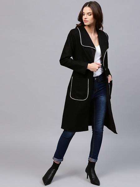 Black Knee-Length Overcoat For Women