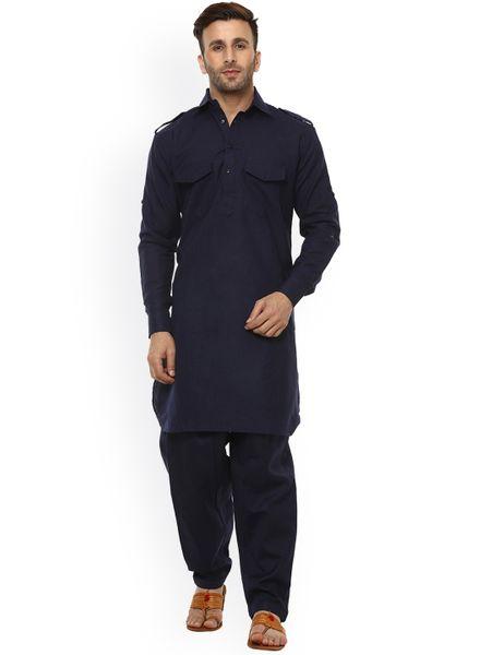 Solid Blue Pathani Kurta